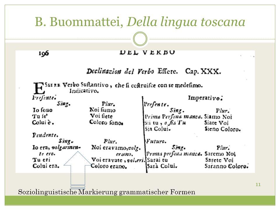 B. Buommattei, Della lingua toscana 11 Soziolinguistische Markierung grammatischer Formen