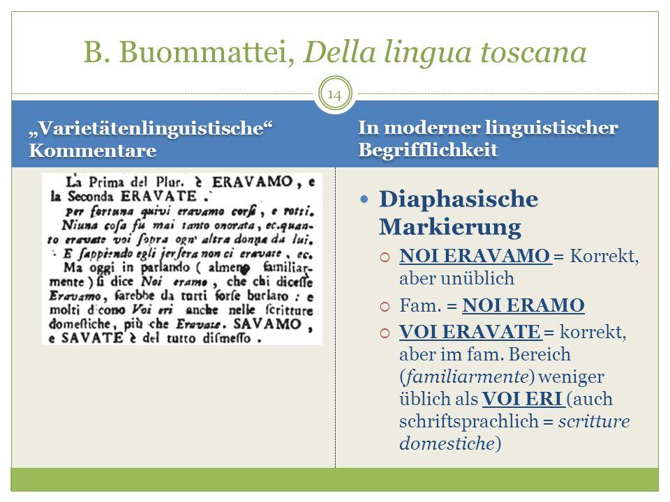 14 Varietätenlinguistische Kommentare Diaphasische Markierung NOI ERAVAMO = Korrekt, aber unüblich Fam. = NOI ERAMO VOI ERAVATE = korrekt, aber im fam