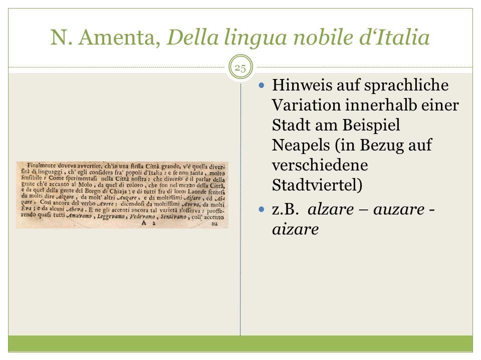 N. Amenta, Della lingua nobile dItalia Hinweis auf sprachliche Variation innerhalb einer Stadt am Beispiel Neapels (in Bezug auf verschiedene Stadtvie