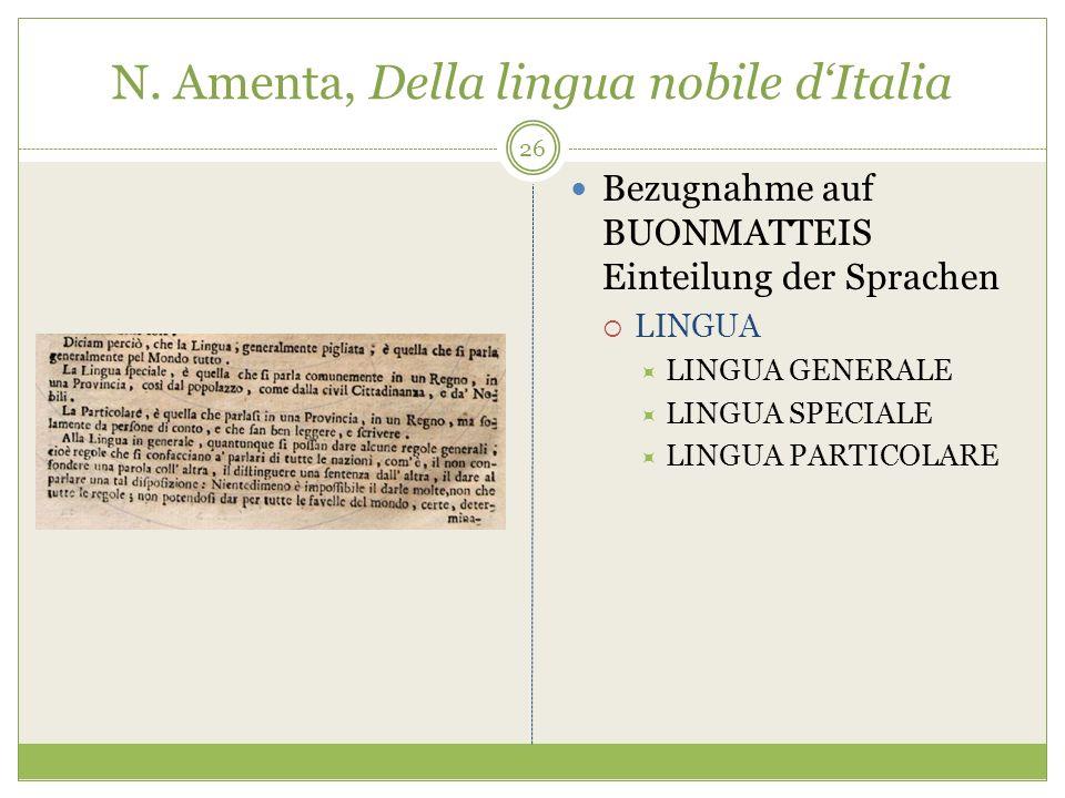 N. Amenta, Della lingua nobile dItalia Bezugnahme auf BUONMATTEIS Einteilung der Sprachen LINGUA LINGUA GENERALE LINGUA SPECIALE LINGUA PARTICOLARE 26
