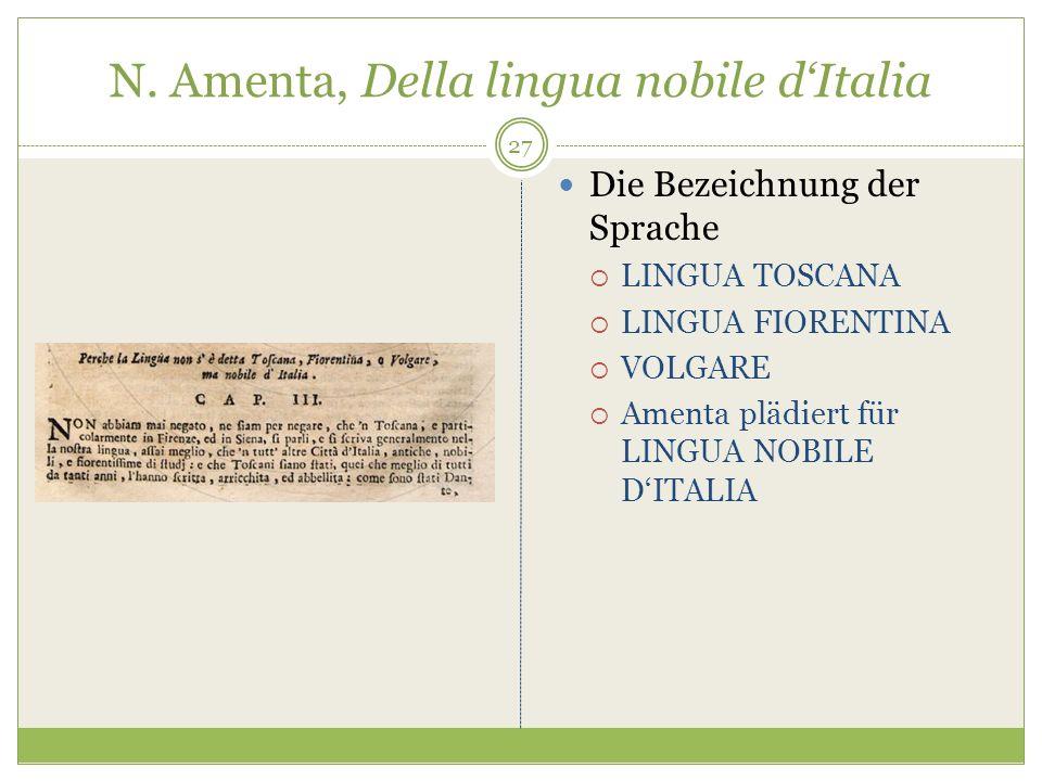 N. Amenta, Della lingua nobile dItalia Die Bezeichnung der Sprache LINGUA TOSCANA LINGUA FIORENTINA VOLGARE Amenta plädiert für LINGUA NOBILE DITALIA