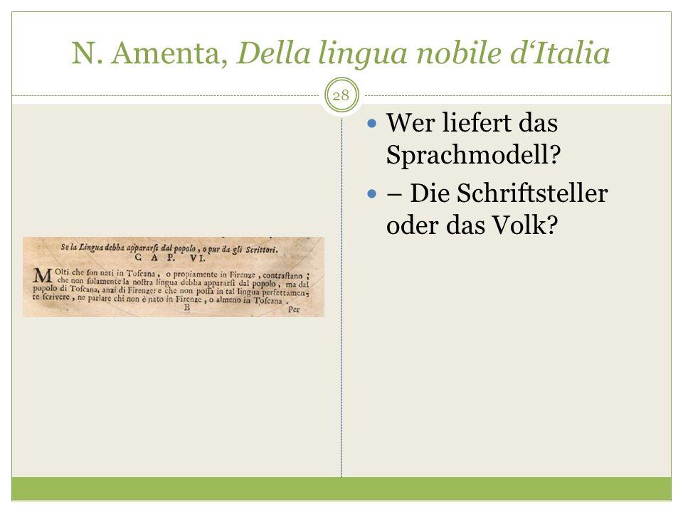 N. Amenta, Della lingua nobile dItalia Wer liefert das Sprachmodell? – Die Schriftsteller oder das Volk? 28