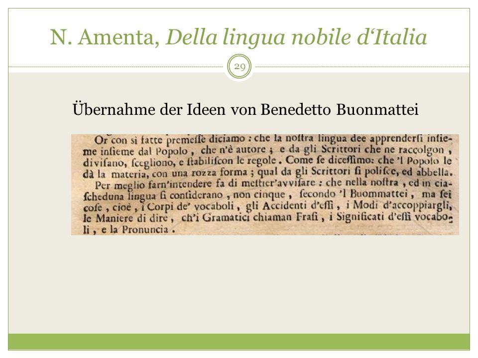 N. Amenta, Della lingua nobile dItalia Übernahme der Ideen von Benedetto Buonmattei 29