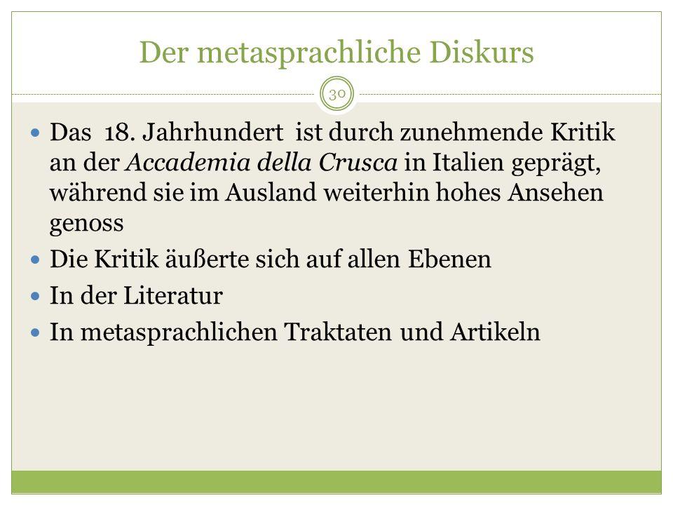 Der metasprachliche Diskurs Das 18.