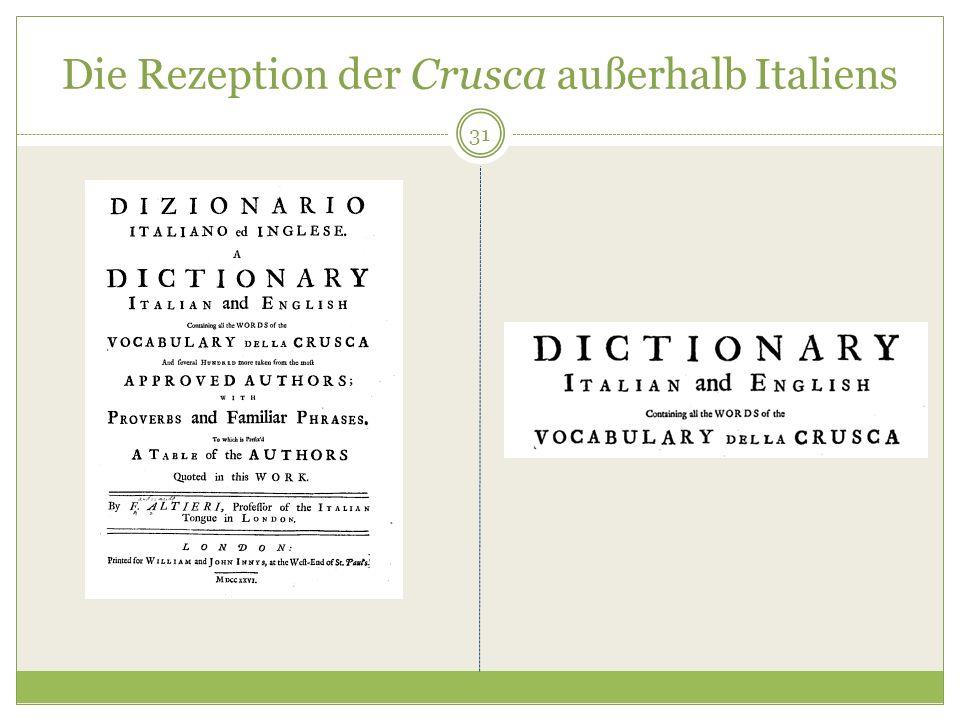 Die Rezeption der Crusca außerhalb Italiens 31