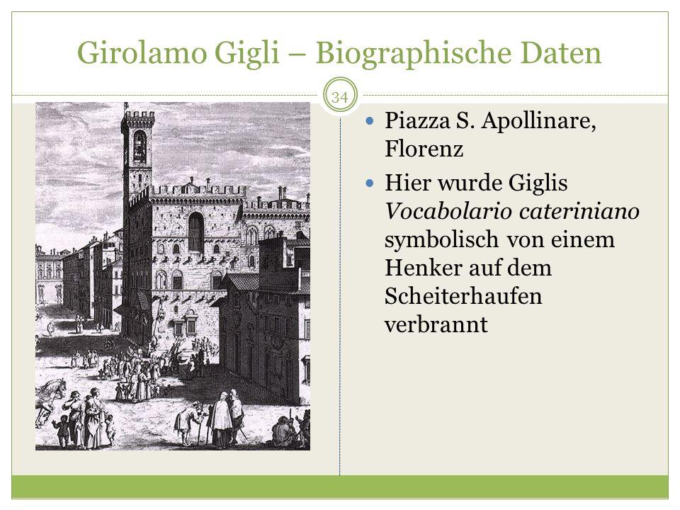 Girolamo Gigli – Biographische Daten Piazza S. Apollinare, Florenz Hier wurde Giglis Vocabolario cateriniano symbolisch von einem Henker auf dem Schei