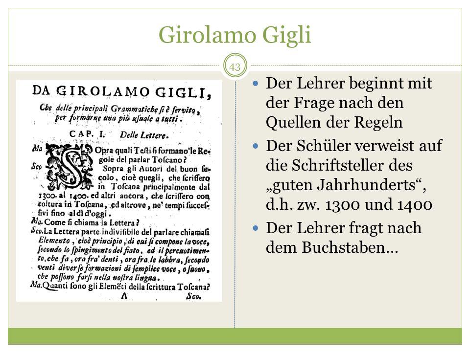 Girolamo Gigli Der Lehrer beginnt mit der Frage nach den Quellen der Regeln Der Schüler verweist auf die Schriftsteller des guten Jahrhunderts, d.h.
