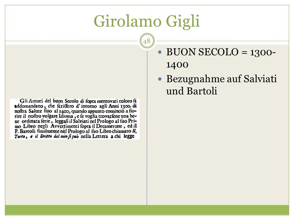 Girolamo Gigli BUON SECOLO = 1300- 1400 Bezugnahme auf Salviati und Bartoli 48