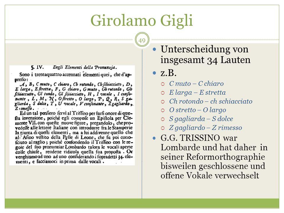 Girolamo Gigli Unterscheidung von insgesamt 34 Lauten z.B. C muto – C chiaro E larga – E stretta Ch rotondo – ch schiacciato O stretto – O largo S gag