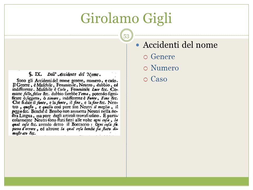 Girolamo Gigli Accidenti del nome Genere Numero Caso 53