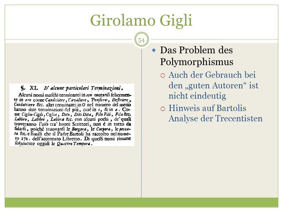 Girolamo Gigli Das Problem des Polymorphismus Auch der Gebrauch bei den guten Autoren ist nicht eindeutig Hinweis auf Bartolis Analyse der Trecentisten 54