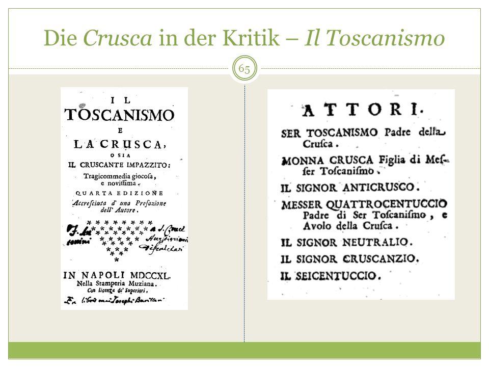 Die Crusca in der Kritik – Il Toscanismo 65