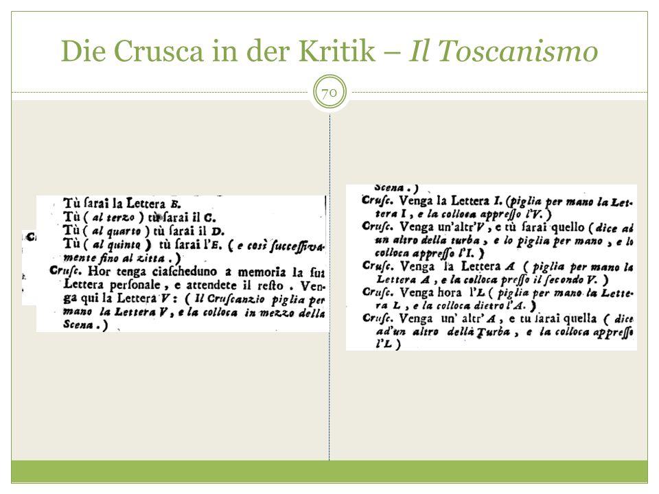 Die Crusca in der Kritik – Il Toscanismo 70