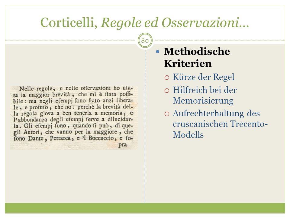 Corticelli, Regole ed Osservazioni… Methodische Kriterien Kürze der Regel Hilfreich bei der Memorisierung Aufrechterhaltung des cruscanischen Trecento- Modells 80