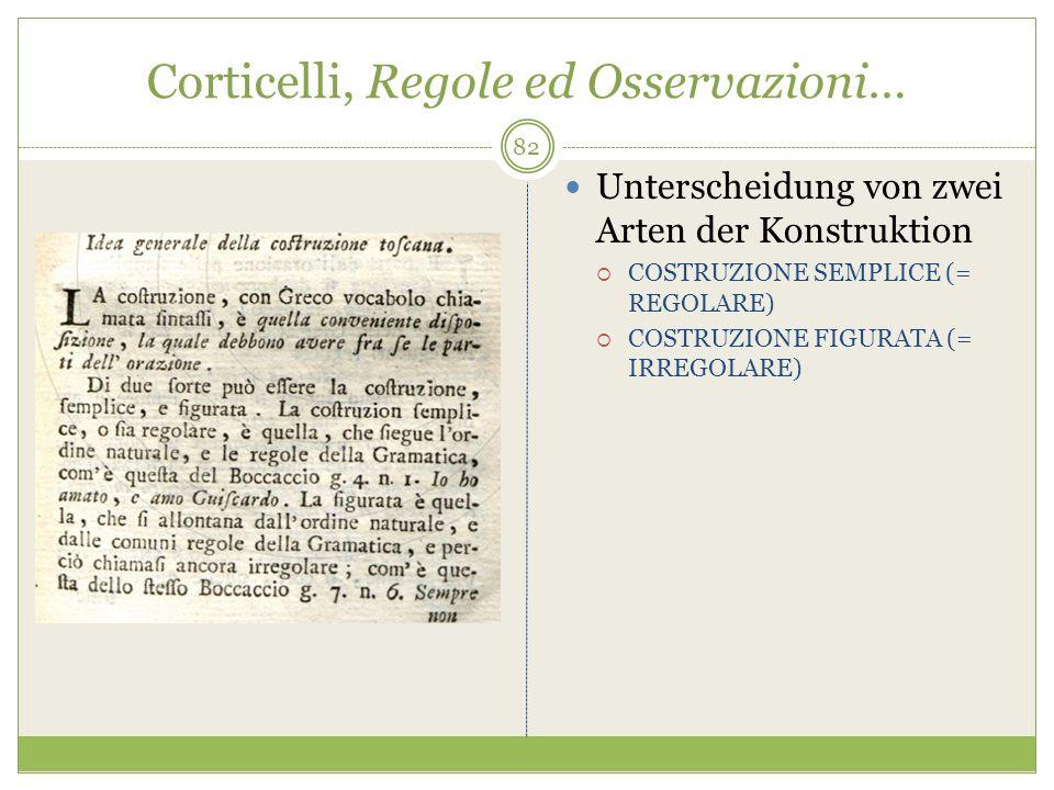Corticelli, Regole ed Osservazioni… Unterscheidung von zwei Arten der Konstruktion COSTRUZIONE SEMPLICE (= REGOLARE) COSTRUZIONE FIGURATA (= IRREGOLAR