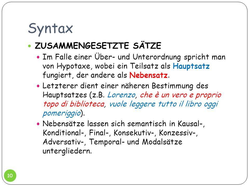 Syntax ZUSAMMENGESETZTE SÄTZE Im Falle einer Über- und Unterordnung spricht man von Hypotaxe, wobei ein Teilsatz als Hauptsatz fungiert, der andere al