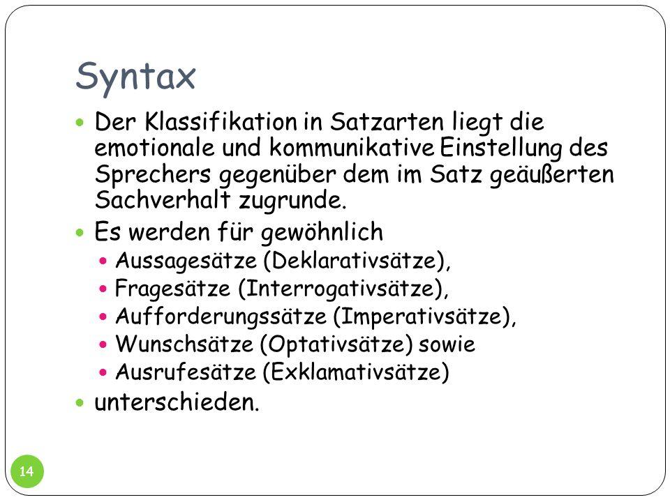 Syntax Der Klassifikation in Satzarten liegt die emotionale und kommunikative Einstellung des Sprechers gegenüber dem im Satz geäußerten Sachverhalt z