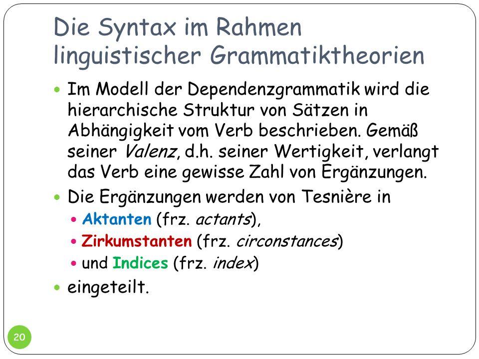 Die Syntax im Rahmen linguistischer Grammatiktheorien 20 Im Modell der Dependenzgrammatik wird die hierarchische Struktur von Sätzen in Abhängigkeit v