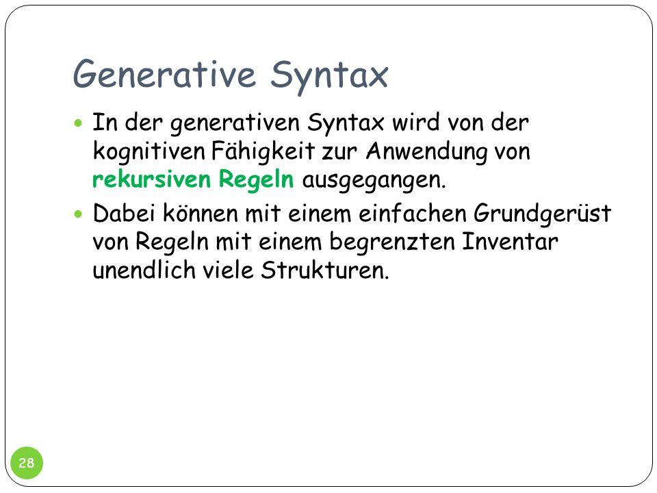 Generative Syntax 28 In der generativen Syntax wird von der kognitiven Fähigkeit zur Anwendung von rekursiven Regeln ausgegangen. Dabei können mit ein