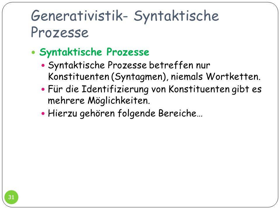 Generativistik- Syntaktische Prozesse 31 Syntaktische Prozesse Syntaktische Prozesse betreffen nur Konstituenten (Syntagmen), niemals Wortketten. Für