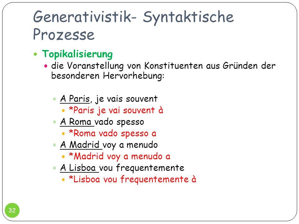 Generativistik- Syntaktische Prozesse 32 Topikalisierung die Voranstellung von Konstituenten aus Gründen der besonderen Hervorhebung: A Paris, je vais
