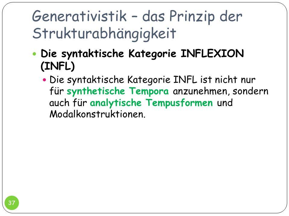 Generativistik – das Prinzip der Strukturabhängigkeit 37 Die syntaktische Kategorie INFLEXION (INFL) Die syntaktische Kategorie INFL ist nicht nur für