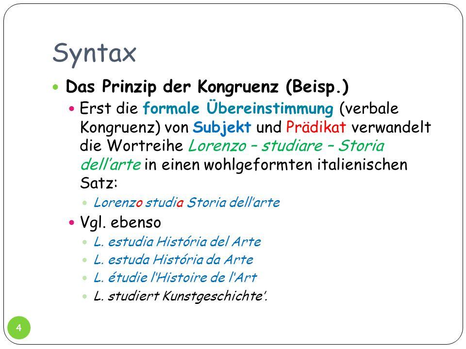 Syntax Das Prinzip der Kongruenz (Beisp.) Erst die formale Übereinstimmung (verbale Kongruenz) von Subjekt und Prädikat verwandelt die Wortreihe Loren