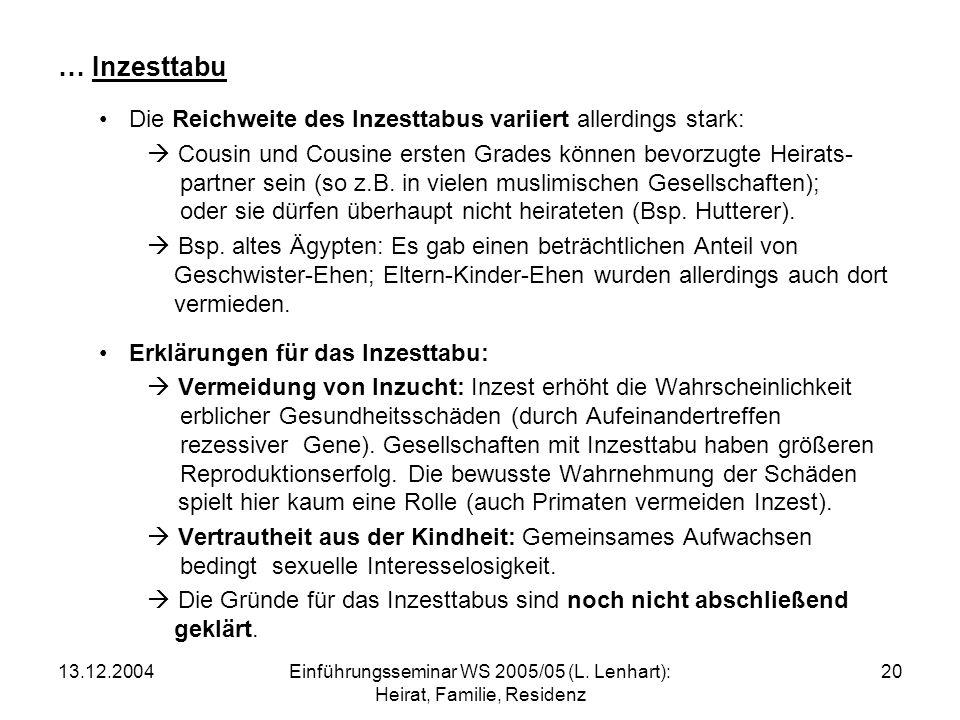 13.12.2004Einführungsseminar WS 2005/05 (L.Lenhart): Heirat, Familie, Residenz 21 Regeln bzgl.