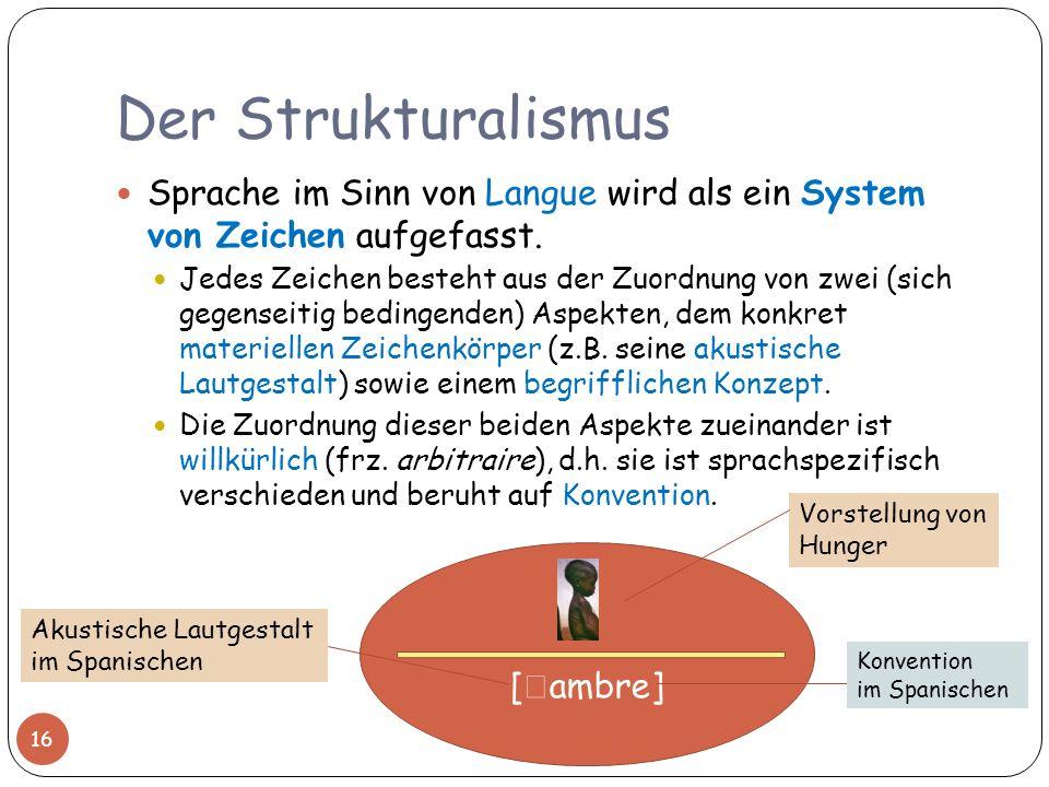 Der Strukturalismus Sprache im Sinn von Langue wird als ein System von Zeichen aufgefasst. Jedes Zeichen besteht aus der Zuordnung von zwei (sich gege