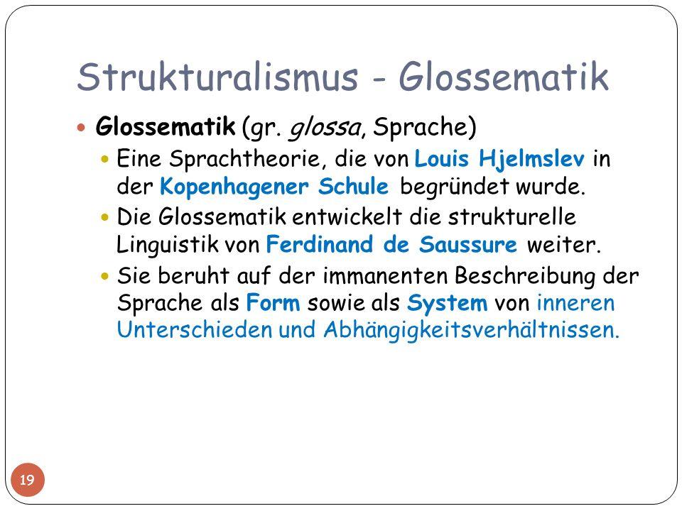 Strukturalismus - Glossematik Glossematik (gr. glossa, Sprache) Eine Sprachtheorie, die von Louis Hjelmslev in der Kopenhagener Schule begründet wurde