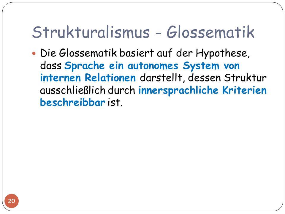 Strukturalismus - Glossematik Die Glossematik basiert auf der Hypothese, dass Sprache ein autonomes System von internen Relationen darstellt, dessen S