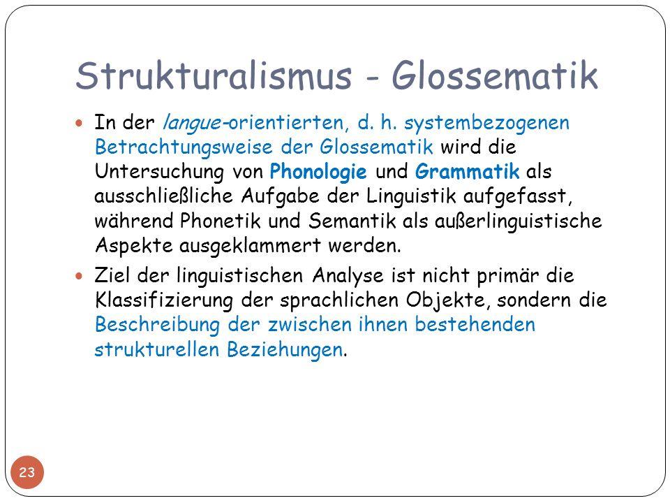 Strukturalismus - Glossematik In der langue-orientierten, d. h. systembezogenen Betrachtungsweise der Glossematik wird die Untersuchung von Phonologie