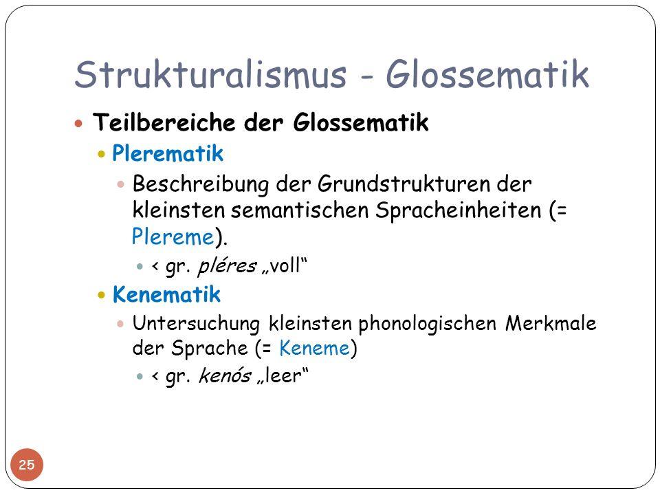 Strukturalismus - Glossematik Teilbereiche der Glossematik Plerematik Beschreibung der Grundstrukturen der kleinsten semantischen Spracheinheiten (= P