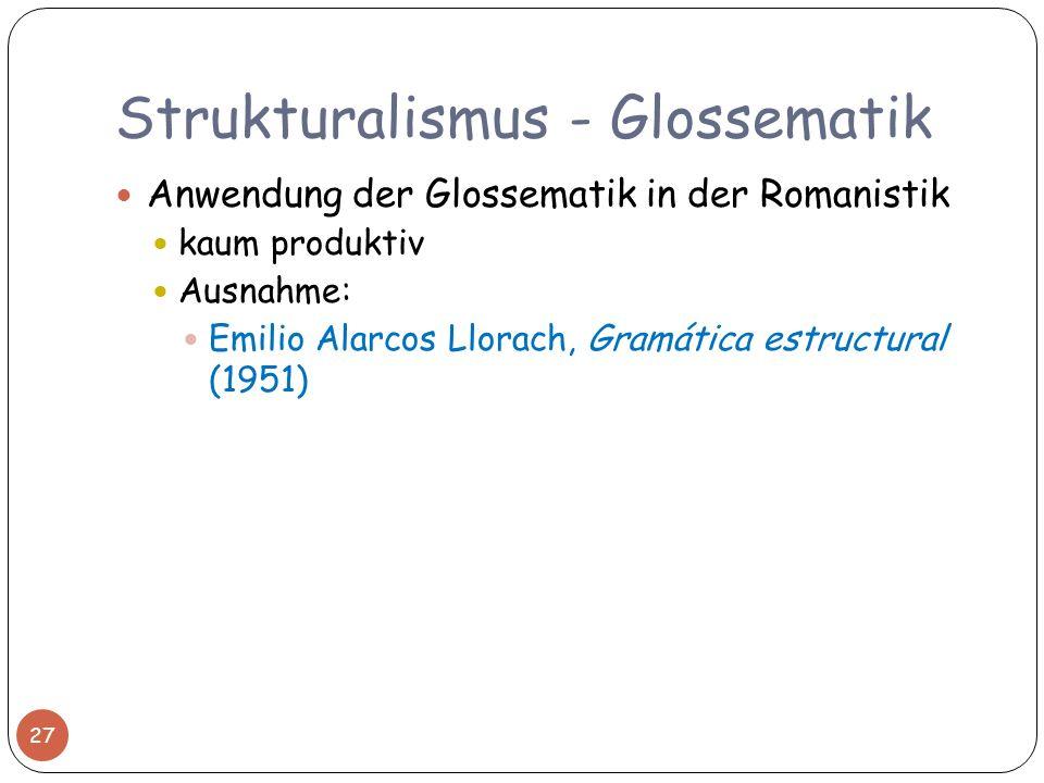 Strukturalismus - Glossematik Anwendung der Glossematik in der Romanistik kaum produktiv Ausnahme: Emilio Alarcos Llorach, Gramática estructural (1951