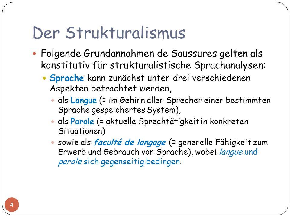 Der Strukturalismus Folgende Grundannahmen de Saussures gelten als konstitutiv für strukturalistische Sprachanalysen: Sprache kann zunächst unter drei