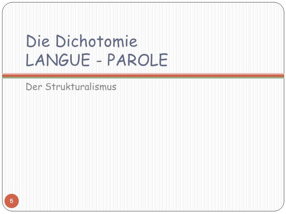 Die Dichotomie LANGUE - PAROLE Der Strukturalismus 5