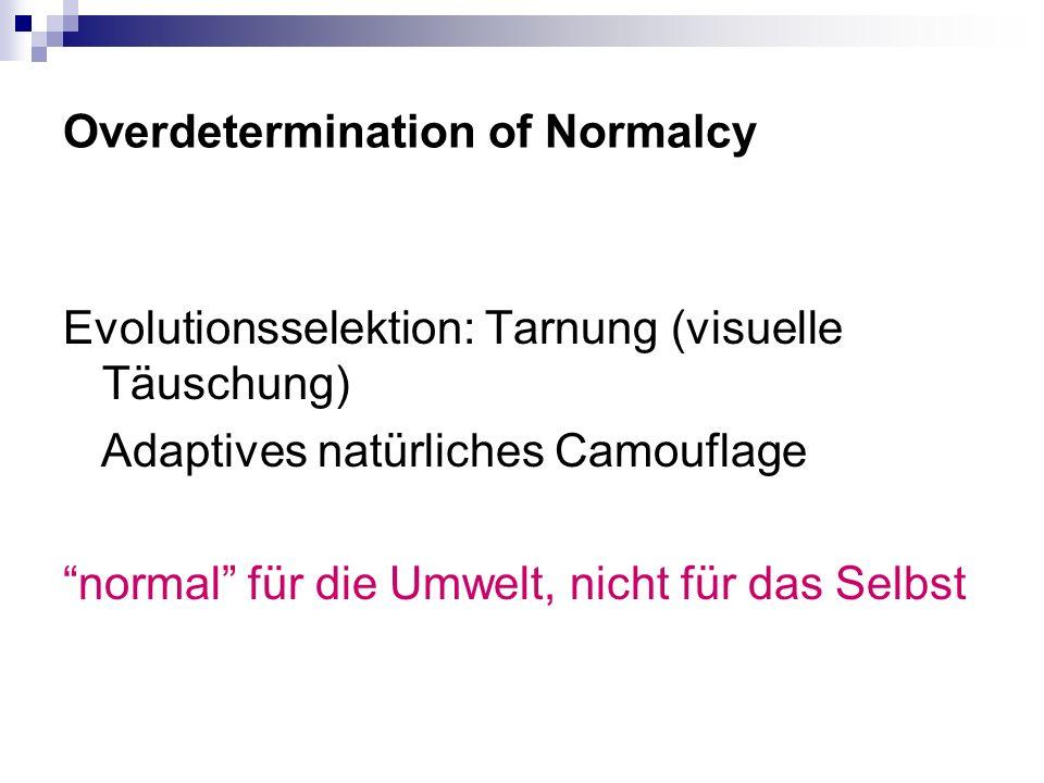 Overdetermination of Normalcy Evolutionsselektion: Tarnung (visuelle Täuschung) Adaptives natürliches Camouflage normal für die Umwelt, nicht für das Selbst