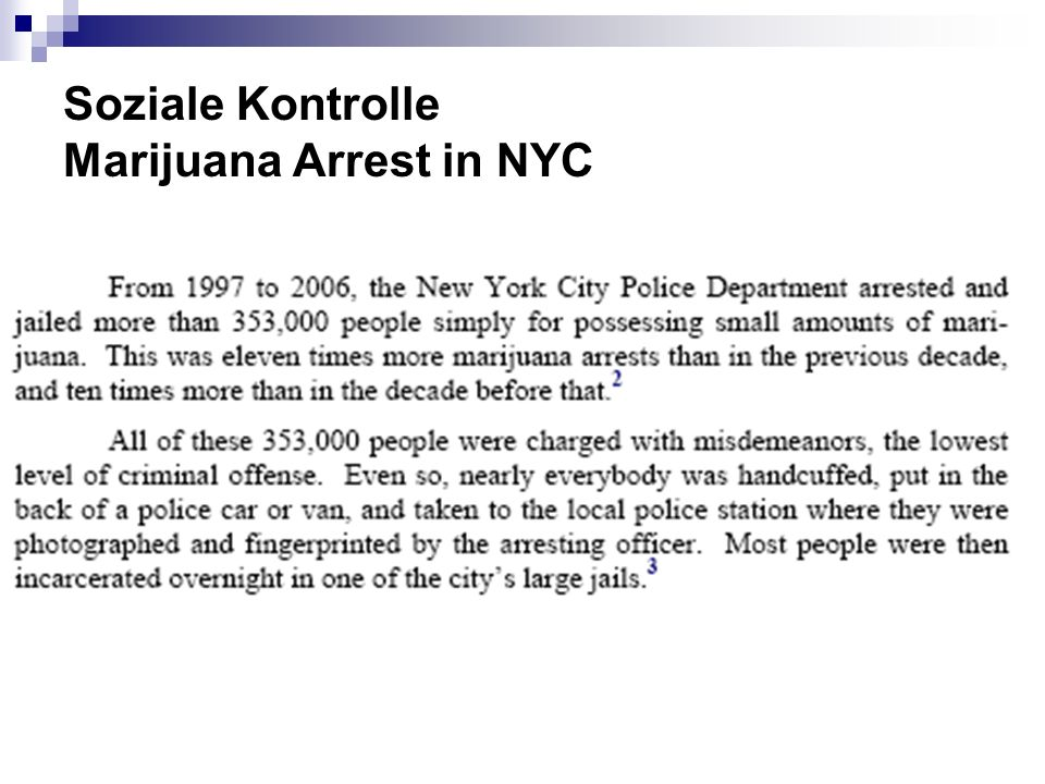 Soziale Kontrolle Marijuana Arrest in NYC