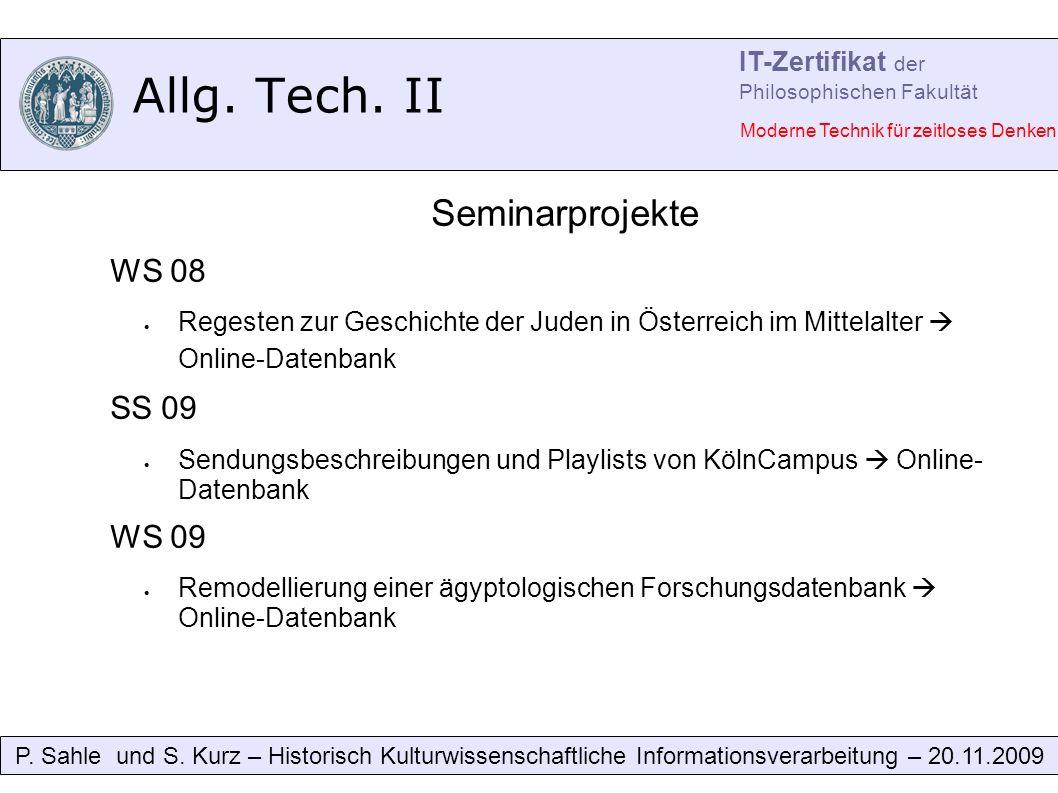 Allg. Tech. II P. Sahle und S.