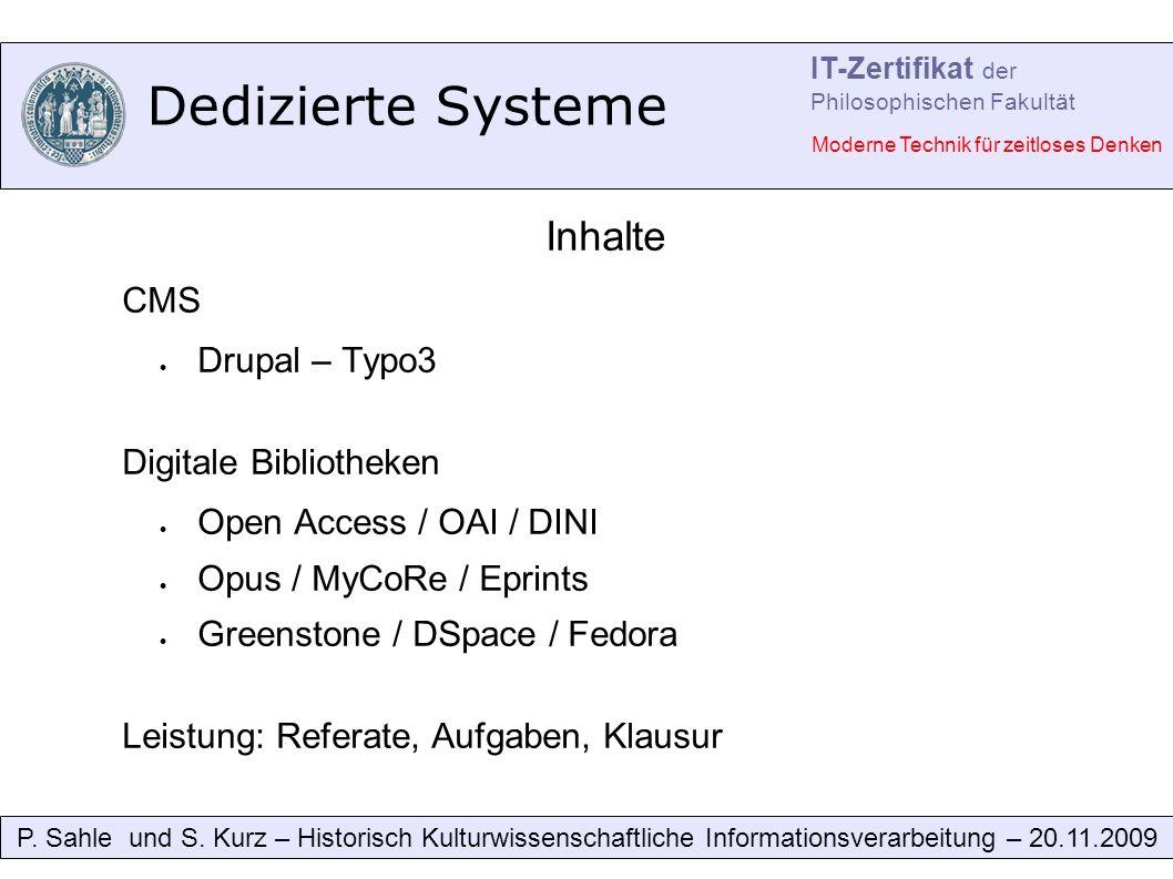 Dedizierte Systeme P. Sahle und S.