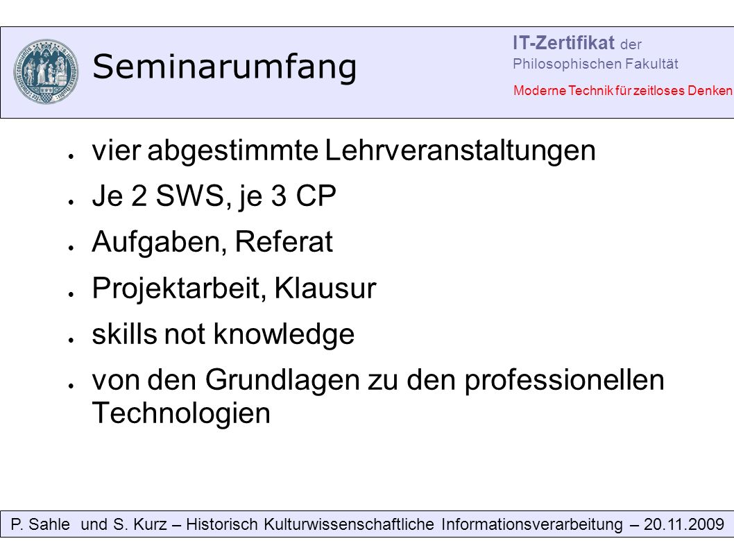 Seminarumfang P. Sahle und S.