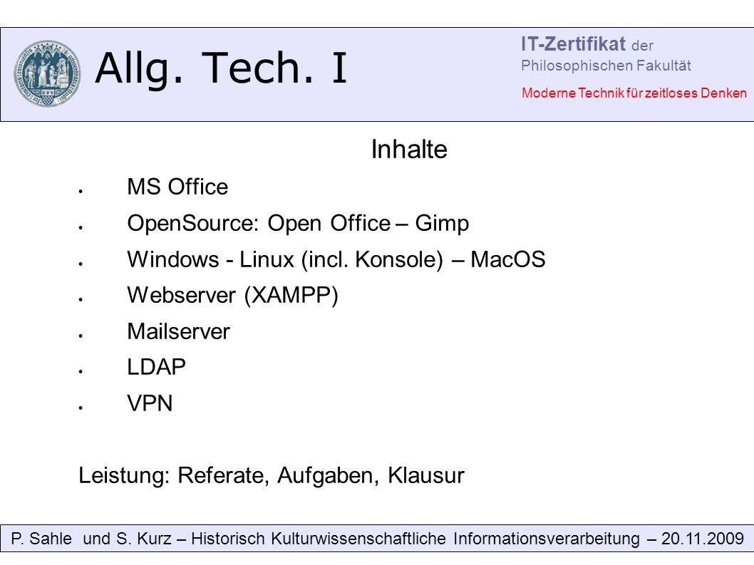 Allg. Tech. I P. Sahle und S.