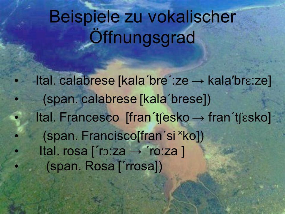 Beispiele zu vokalischer Öffnungsgrad Ital. calabrese [kala´bre´:ze kalabr ɛ :ze] (span. calabrese [kala´brese]) Ital. Francesco [fran´t ʃ esko fran´t