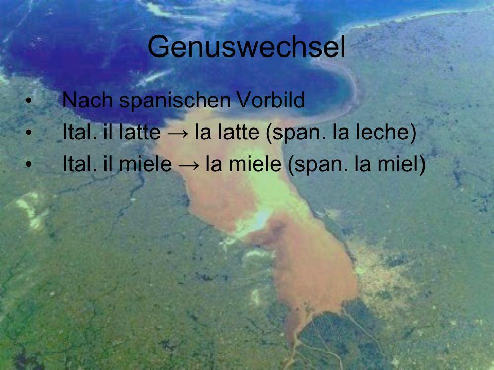 Genuswechsel Nach spanischen Vorbild Ital. il latte la latte (span. la leche) Ital. il miele la miele (span. la miel)