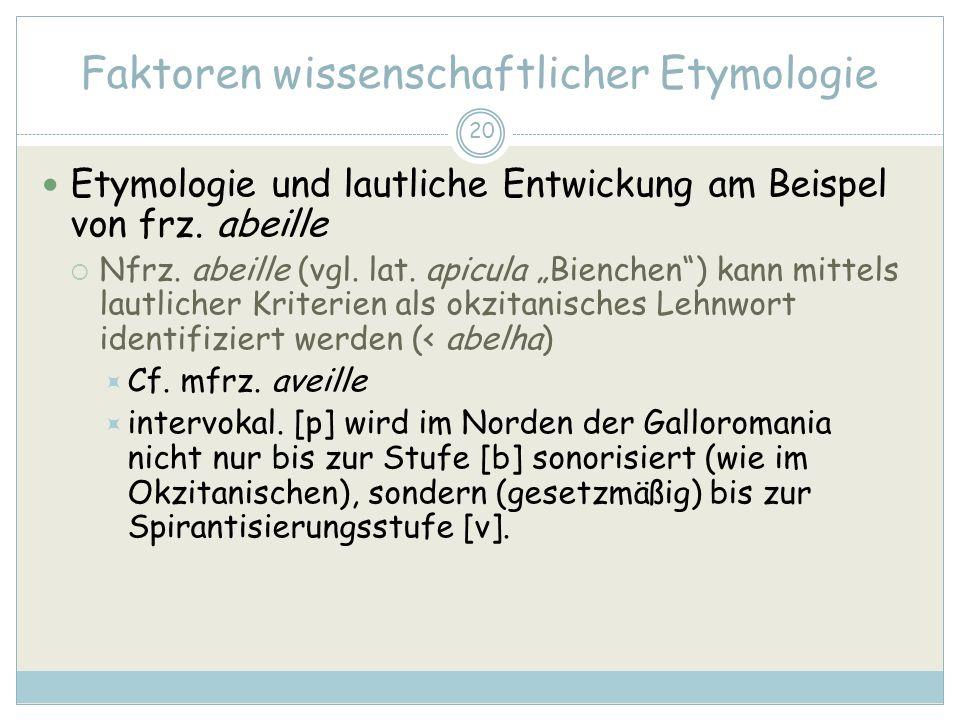 20 Faktoren wissenschaftlicher Etymologie Etymologie und lautliche Entwickung am Beispel von frz.