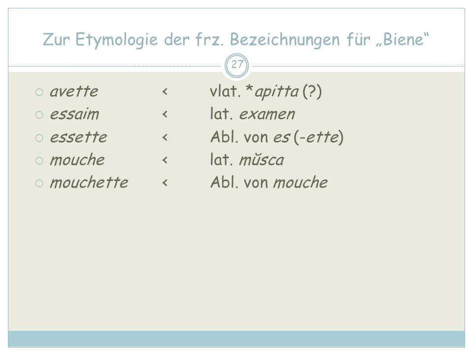 27 Zur Etymologie der frz.Bezeichnungen für Biene avette < vlat.