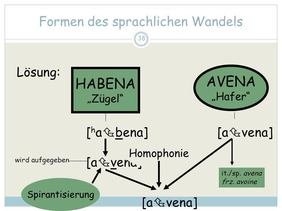38 Formen des sprachlichen Wandels HABENA Zügel AVENA Hafer [ h a bena] [a vena] Homophonie Spirantisierung Lösung: it./sp. avena frz. avoine wird auf