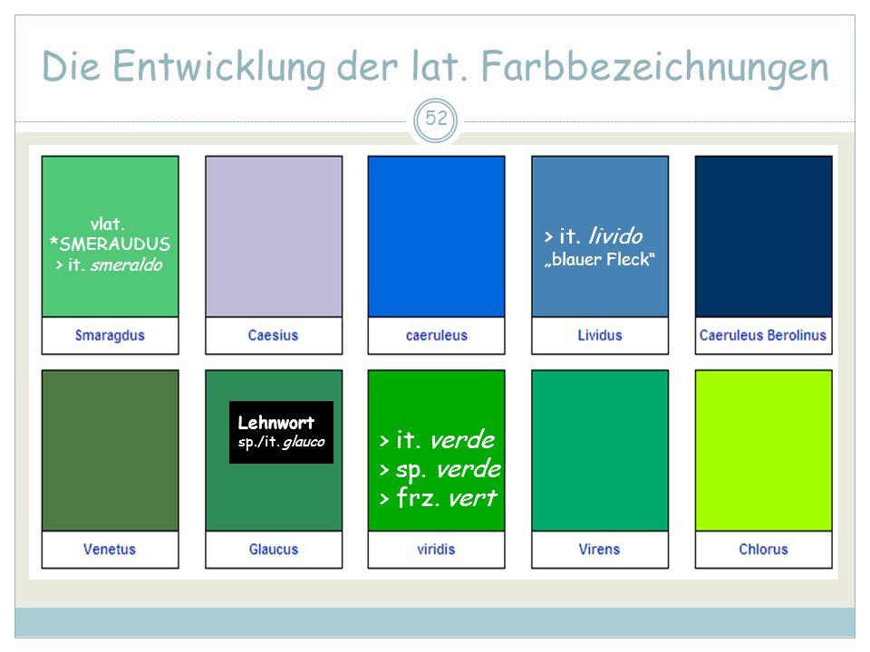 52 Die Entwicklung der lat. Farbbezeichnungen > it. verde > sp. verde > frz. vert > it. livido blauer Fleck Lehnwort sp./it. glauco vlat. *SMERAUDUS >