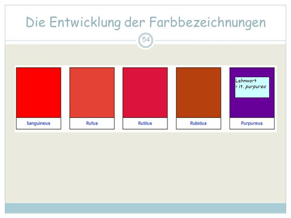 54 Die Entwicklung der Farbbezeichnungen Lehnwort > it. purpureo