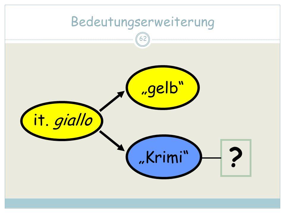 62 Bedeutungserweiterung it. giallo gelb Krimi ?